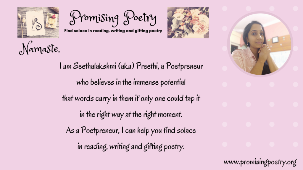 Picture of the author along with a short description saying she is a poetpreneur who can help you find solace in reading, writing and gifting poetry.