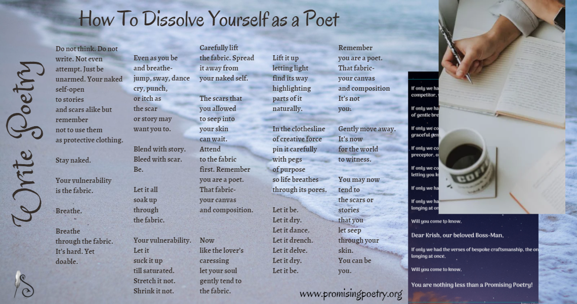 """Slider titled """"write poetry"""" with a poem from the author."""
